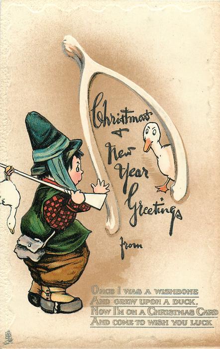 CHRISTMAS & NEW YEAR GREETINGS  ducks, girl hunter