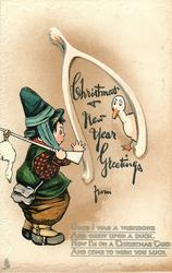 CHRISTMAS & NEW YEAR GREETINGS  ducks, girl hunter