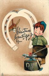 CHRISTMAS GREETINGS  boy blacksmith, horseshoe, donkey