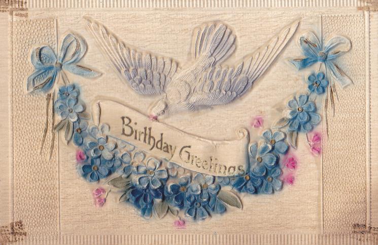 BIRTHDAY GREETINGS  bird and blue flowers