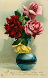 CHRISTMAS GREETINGS  pink/yellow/red roses in a blue vase
