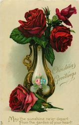 CHRISTMAS GREETINGS  three red roses & a bud in vase, one rose next to the vase