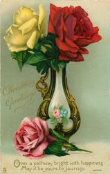 CHRISTMAS GREETINGS  red & yellow roses in vase, one pink rose next to the vase