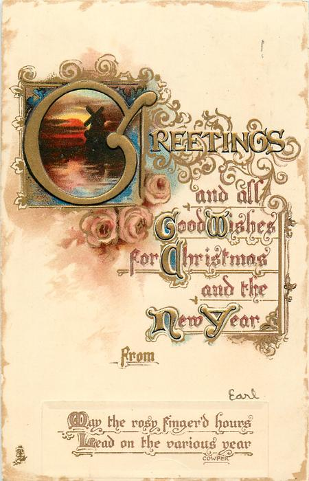 GREETINGS AND ALL GOOD WISHES FOR CHRISTMAS AND THE NEW YEAR