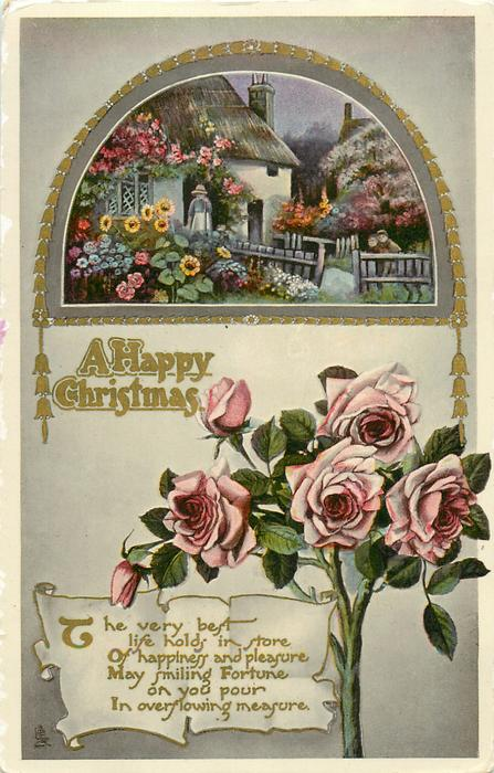 A HAPPY CHRISTMAS  pink roses