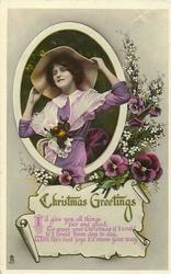 CHRISTMAS GREETINGS  pretty girl holding on to her hat, white blossoms,  pansies