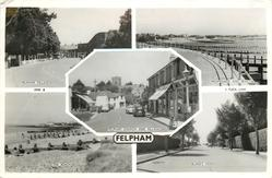 5 insets  FELPHAM VILLAGE/PROMENADE AND BEACH/FELPHAM CHURCH AND VILLAGE/ THE BEACH/BLAKE'S ROAD