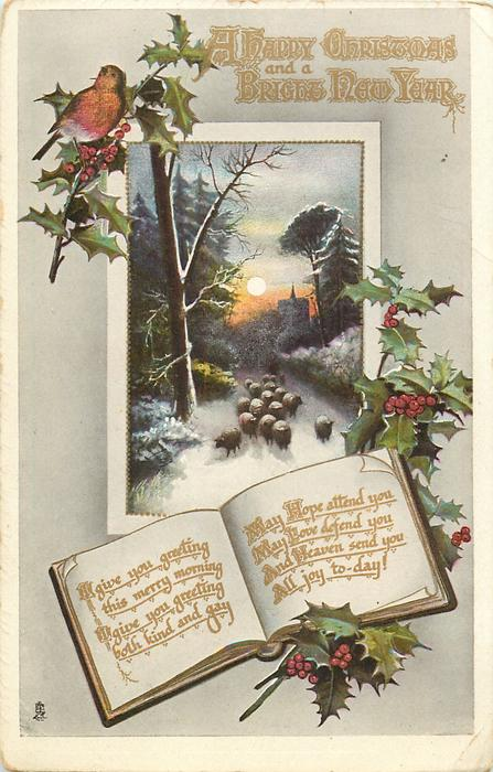 A HAPPY CHRISTMAS AND A BRIGHT NEW YEAR  sheep in inset, robin above, holly around, message on pages of book