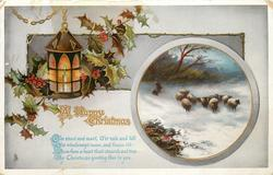 A HAPPY CHRISTMAS  sheep in inset, lantern, holly around