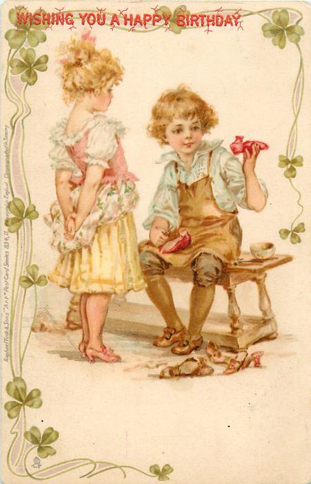 boy dressed as cobbler, girl customer