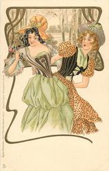 two elaborately dressed girls appear concerned about something to left, art nouveau gilt border to rural inset, left & above