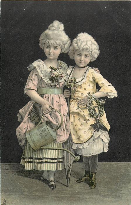 two girls with white wigs, one holds watering can & the ...