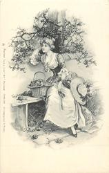 pretty woman sitting on bench with one hand on hair, basket of apples in front of her