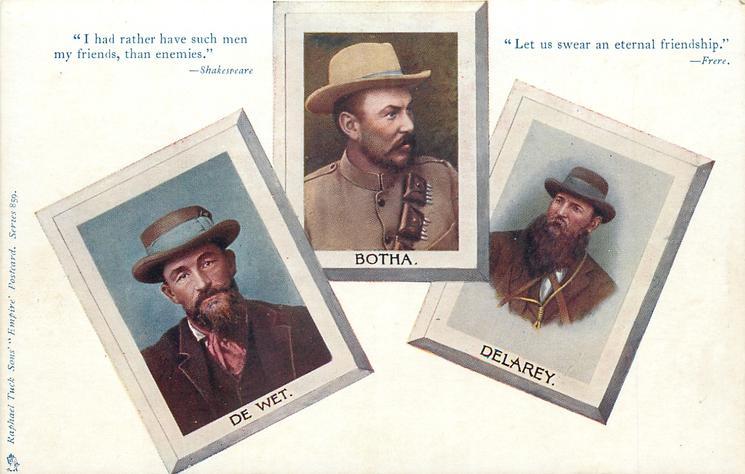 three coloured inserts of BOTHA, DE WET, DELAREY
