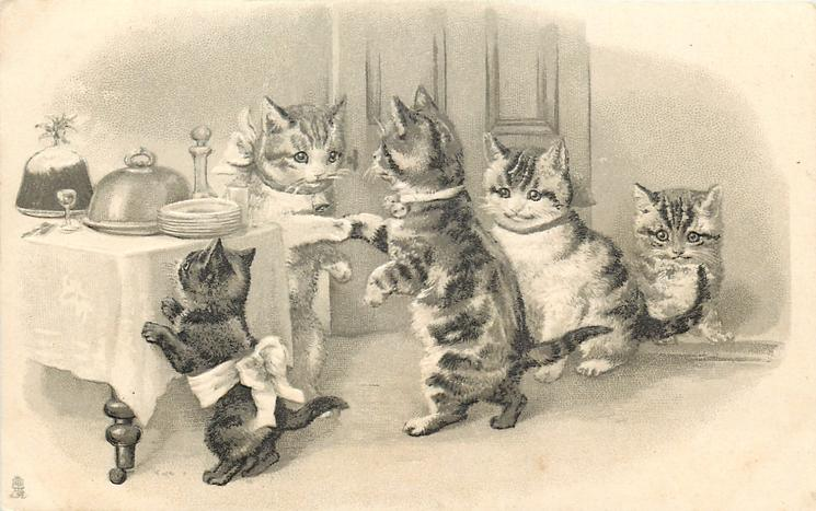 five cats & kittens, Christmas fare on table left