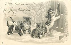four kittens, one uses door knocker, snow scene