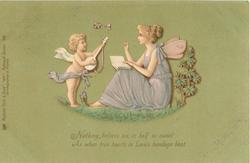 fairy sits right holding book, cupid stands left with mandolin; green background