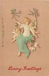 girl on swing looks right, two small cupids around, two doves; pink background