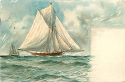 single masted sailing ship going left