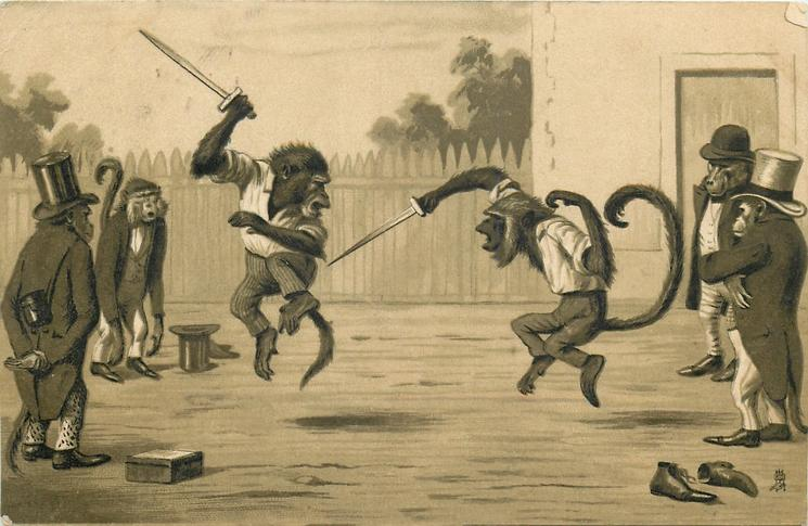 monkeys dueling