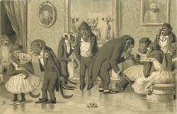 monkeys in evening dress at party