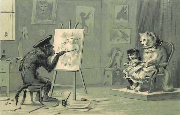 monkey at easel painting portrait of dressed cat & her kitten