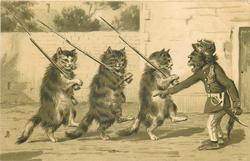 monkey yelling orders to three marching cats with rifles & bayonets