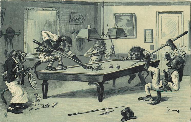 monkeys playing billiards