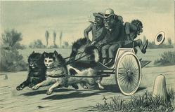 monkeys in a carriage drawn by 2 cats