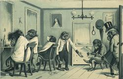 monkeys in barber's shop