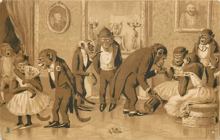 monkeys in formal dress at a party