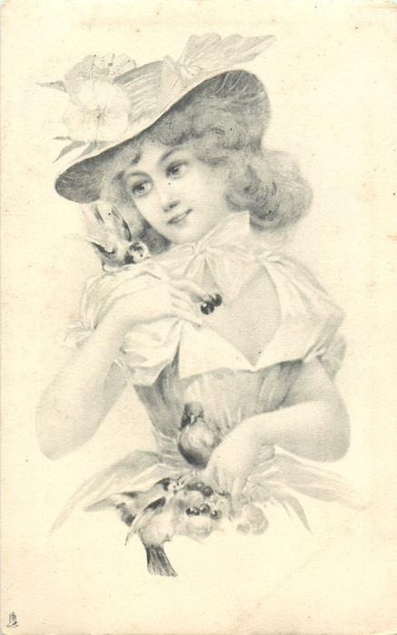 girl holds cherries, birds sit on her right shoulder & at her waist