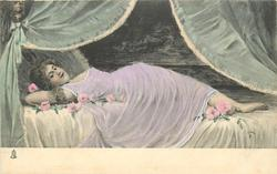 woman lying on couch, heavy drapes above, right arm under head, faces front & up