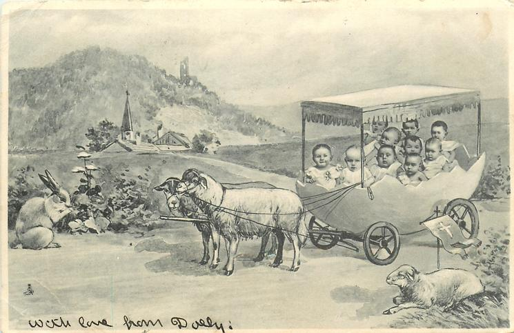 babies in egg carriage pulled by sheep