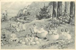 babies in eggs front, lamb jumping through hoop, train & woods behind