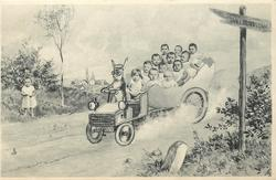 babies in egg car driven by rabbit