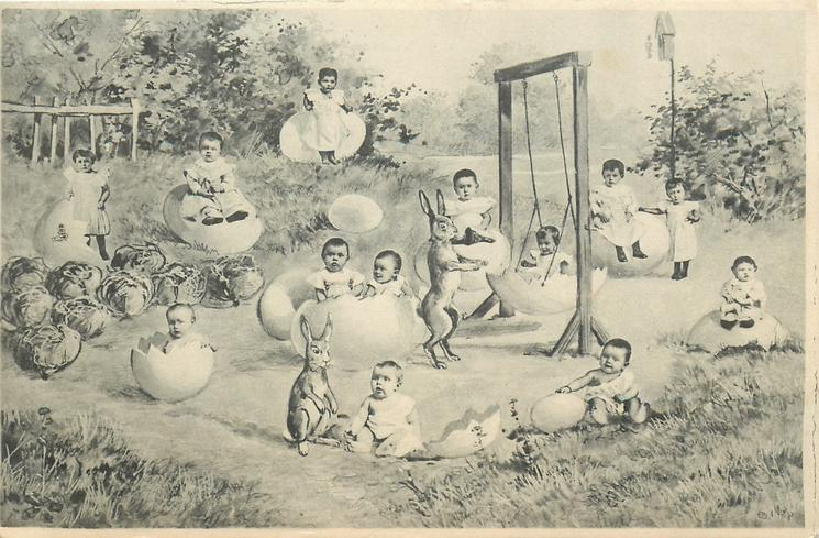 babies, many in eggs, rabbit pushes one in an egg swing