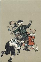 four children playing blind man's bluff