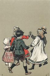 four children playing ring-around-the-rosy
