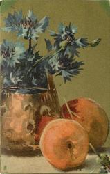 blue cornflowers and peaches