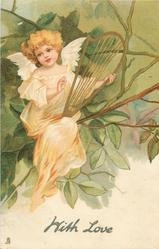 WITH LOVE  angel sits on branch, with old style harp lyre