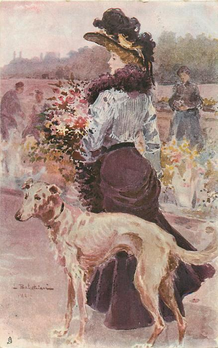 lady in light top, purple skirt, holding flowers, faces away, greyhound lower front