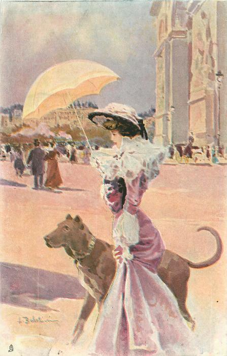 lady in pink with yellow parasol, walking  her great dane left