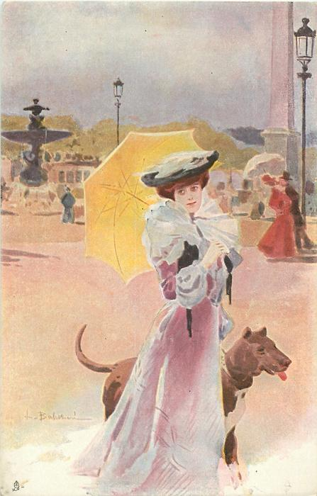 lady in pink with yellow parasol, walking  her great dane right