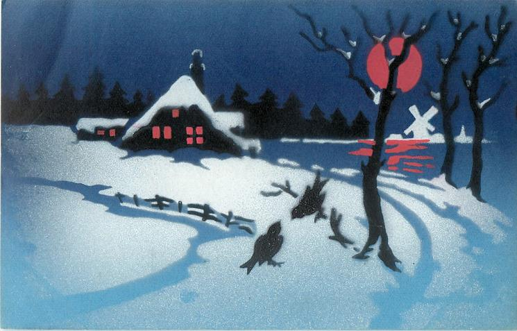 winter night scene, much snow, red moon, two birds