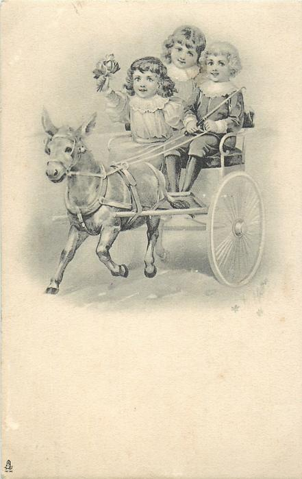 three children ride in cart drawn left by a mule