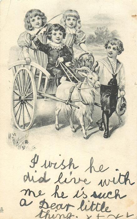 three children ride in goat cart, another boy walks alongside