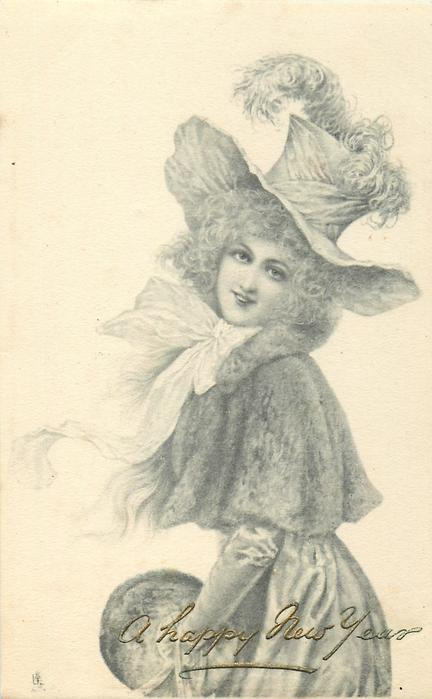 pretty girl with muff, large hat with ostrich feathers, left hand gloved, faces left, looks front