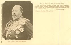 HIS MAJESTY KING EDWARD VII head/shoulders (3/4 length images listed separately),  three different messages-see below