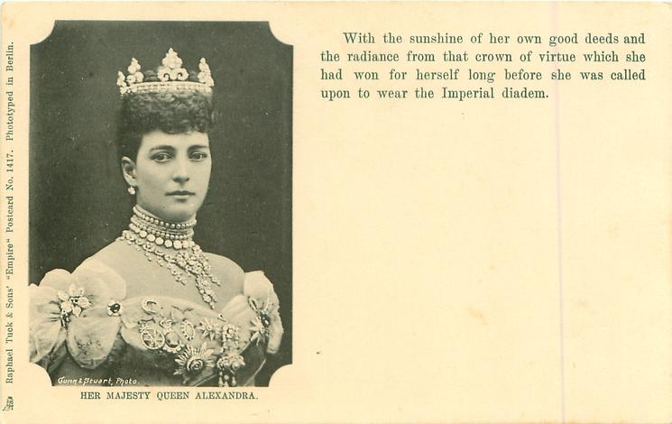 HER MAJESTY QUEEN ALEXANDRA, head & shoulders, two different messages
